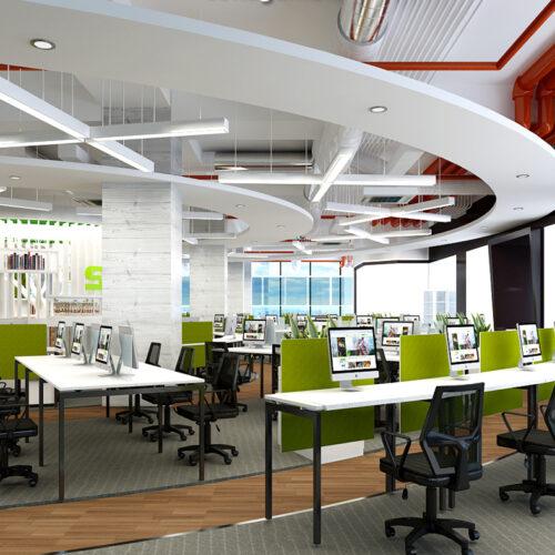 Văn phòng làm việc hiện đại phổ biến 2020