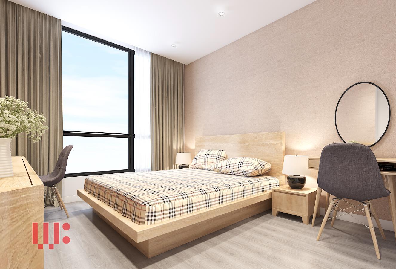 Phòng ngủ thiết kế nội thất hài hòa, tiện nghi, có kết hợp thêm tủ quần áo, bàn làm việc, kệ trang trí trong phòng giúp bạn làm việc trực tiếp ở trong phòng ngủ.