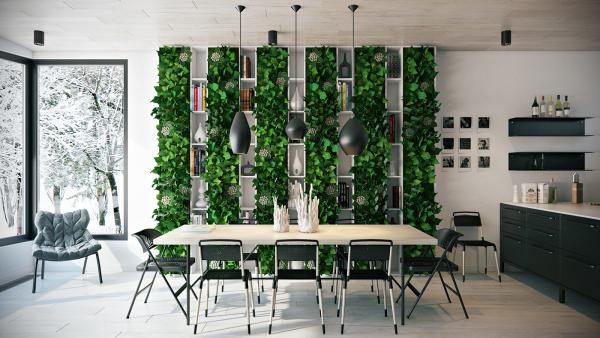 Các mẫu thiết kế nội thất phòng ăn với cây xanh mát rượi